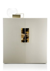 White Lacquer and Horn Cabinet