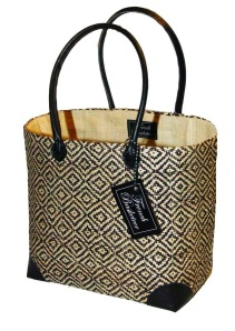 Woven exotic pattern raffia with black leather