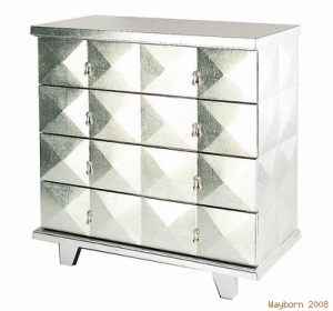 Silvered Four Drawer Chest