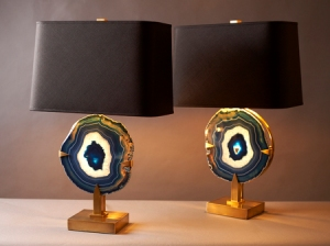 Sapphire Quartz Lamps set like Jewels in the Base