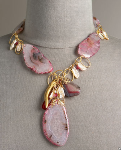 Devon Leigh Pink Agate Necklace | $790
