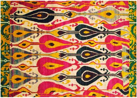 A bold Ikat area rug.