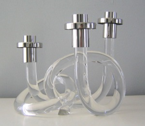 70's knotted Lucite candlesticks from Dorothy Thorpe