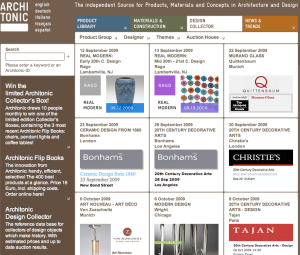 Architonic Auction Calendar (click here to visit)
