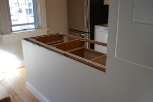 Countertop now an island - looking from dining area.