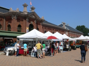 The newly renovated Market building and street vendors.