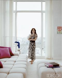 Top Fashion Designer Jill Stuart at her home.