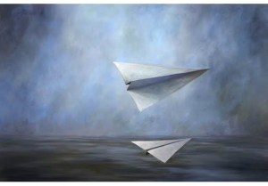 paper airplane oil on canvas-joe concra via Donzella Ltd on 1st Dibs oct09