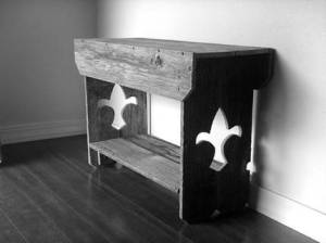 Reclaimed fleur de lis table or bench from TrueConnection on Etsy