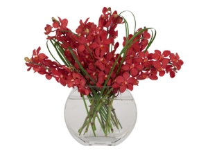 Red orchid and Grass Bouquet