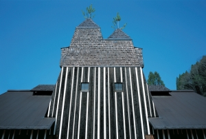 The Hot Spring House has two pines sticking out of the top - nature and architecture.