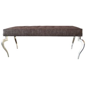 Upholstered Bench with Solid Brass Curved Legs
