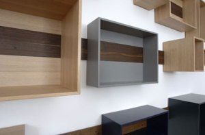 storage boxes on wall