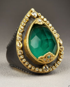 Malachite and Diamond Midnight Pear Ring | Neiman Marcus