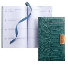Panama Diary in Malachite Leather with Wood Closure | Smythson
