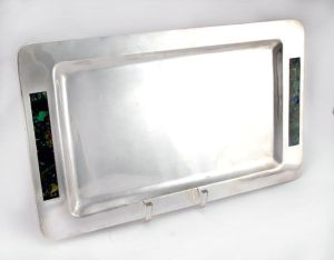 1950's Sterling Silver and Malachite Tray | 1stDibs