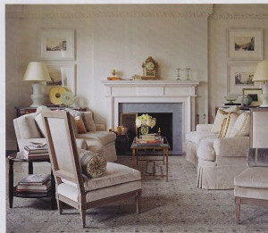 A revived formality is kept clean with more refined elements in this living room.