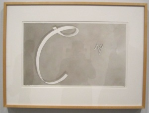 Gunpowder on paper of Cry by Ed Ruscha, 1967.