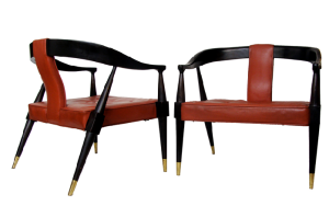 pair of Asian-Modern Lounge Chairs with influence from Edward Wormley and James Mont