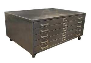 1950's Repurposed Architectural Flat File Coffee Table.