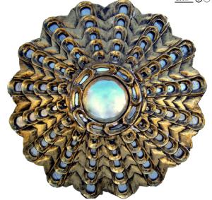 1950's Peruvian elaborate gilt carved wood sunburst mirror.