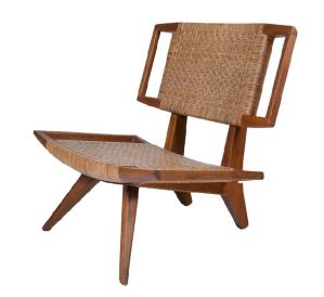 1960's Paul Laszlo for Glenn of California original bleached mahogany slipper chair.