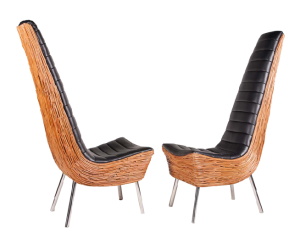 """A pair of """"Xylophone"""" chairs in vinyl, liana vine and stainless steel designed by Udom Udomrianan"""