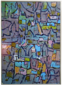 Modernist oil on canvas painting in the manner of Paul Klee.