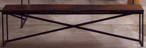 Go organic with a reclaimed railroad tie bench with a waxed metal frame. | Velocity Art