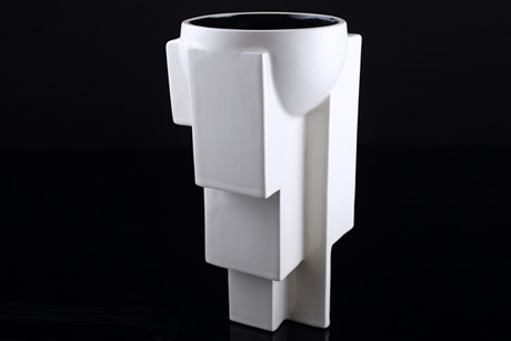 Arko 7 White Ceramic Vase by Solomia