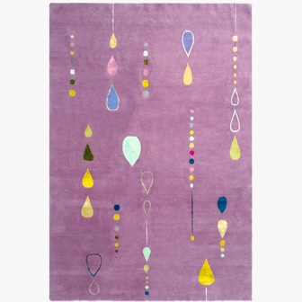 Color is the word in this energetic and happy Amethyst Dew Drop wool and silk rug.