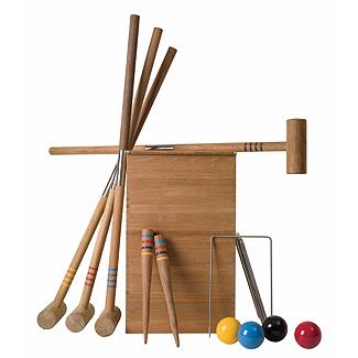 Compact, teak, and easy to carry, this Teak Croquet Set is a much cooler version then the one you had as a kid. $423