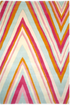 This rockin' 100% New Zealand wool rug called Zig Zag in colorway Carnival takes the stage.