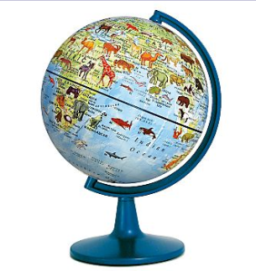 A globe with animals imprinted on it.
