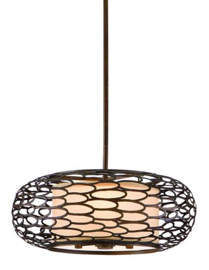 The Napoli Bronze Wide Pendant Light is made of eye-catching interlocking ovals made of iron surround a cream linen shade that glows from within.