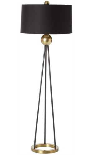 Every glamourous room could use the black shade with a mustard gold lining and antique brass iron body of the Hadley Floor Lamp