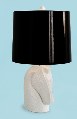 Lamps can be so much fun when you place cute animals under glossy black shades like Jonathan does here with his Horse Head Lamp. | Jonathan Adler