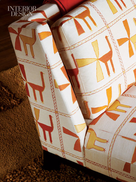 This contemporary fabric in earthy citrusy colors and hand-drawn animal shapes is just perfect.