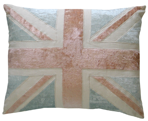 The faded appearance of this velvet and linen Union Jack Rectangular Cushion calls in the troops!, $55