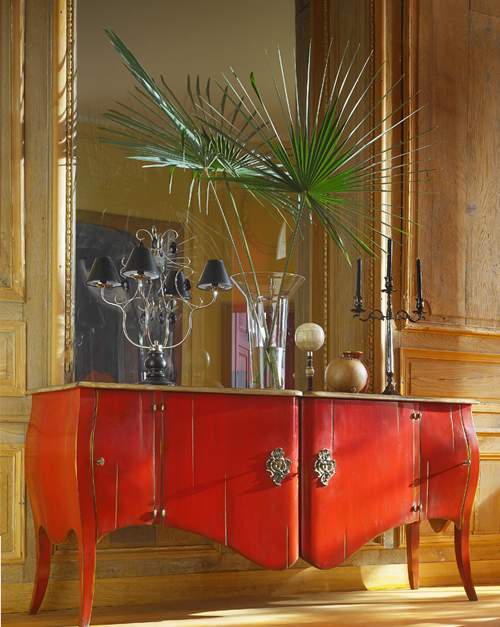 The Cherry Bombe Chest/4 Door Cupboard is ideal for dining room storage and is not limited to the lipstick red shown here. 22 other colorways are available! $4,982