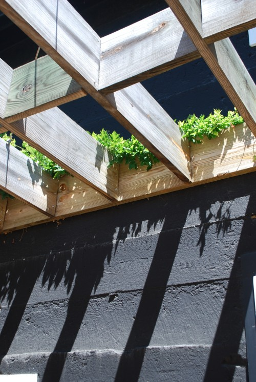 Pretty wooden awning to offering shade to those on the patio.