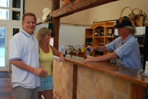 Micky pouring for VIP guests.