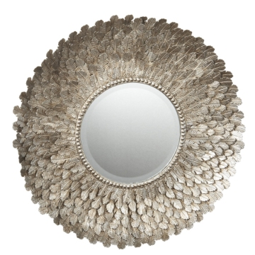 Metal Feather Wall Mirror, $185  |  Lazy Susan USA