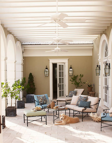 Love the streamlines iron rod furnishings and cream paint colors.