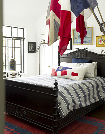 This bed went from blah and brown to bravo and black.