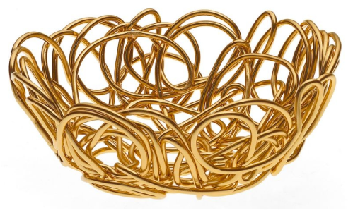 Nuvem Round Wire Basket in Gold, $32 | Alessi