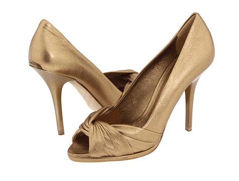 Golden Burberry Peep-toe Twist Pumps, $495 | Zappos.com