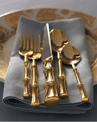 Gold Bamboo Flatware, $114 for a 5-piece setting | Ricci Silversmith