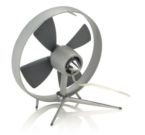 This cast aluminum desktop fan has a virtually silent motor and rubber blades allowing it a guard-less design., $139 | Black + Blum