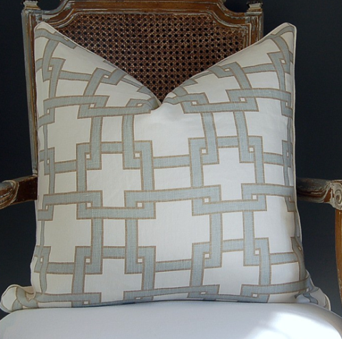 "Tom Filicia's ""City Square"" printed medium wight linen has griege interlocking squares and a cream heavy linen back., $80"